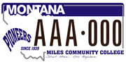 Miles Community College plate sample