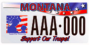 Montana Support Our Troops plate sample
